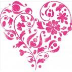 Szablon do tkanin serce w kwiaty