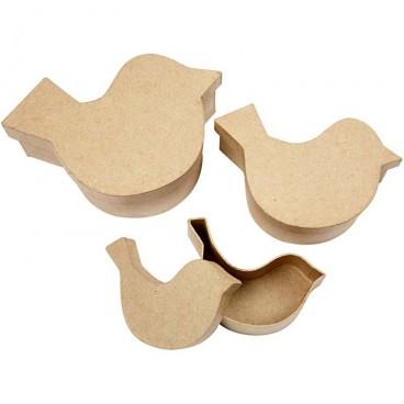 Pudełko ptaszek papier mache mały