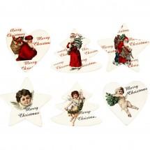 Drewniane naklejki świąteczne
