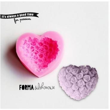 Forma silikonowa 3D Serce z róż (mydło)