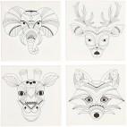 Podobrazie szkice zwierząt 20x20 cm