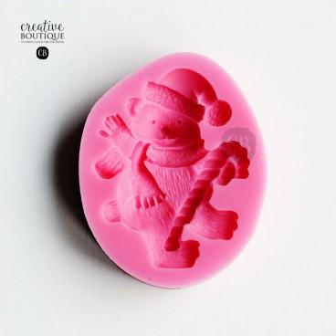 Forma silikonowa 3D Miś świąteczny z laską