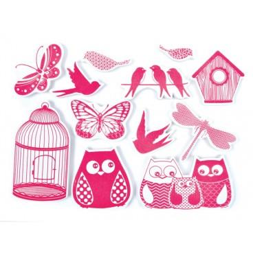 Stempelki do tkanin - klatka i ptaki