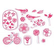 Stempelki do tkanin - kwiaty