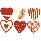 Naklejki drewniane serca czerwone