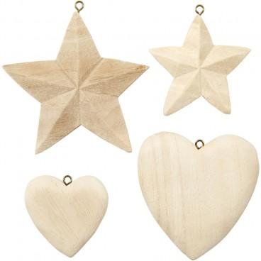 Serca i gwiazdki drewniane 4szt