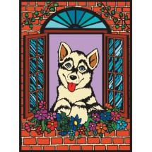 Malowanka Colorvelvet - piesek w oknie