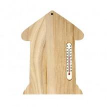 Drewniany domek z termometrem