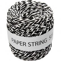 Sznurek papierowy 50 metrów czarno-biały