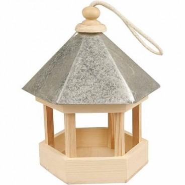 Karmnik dla ptaków z cynkowym dachem