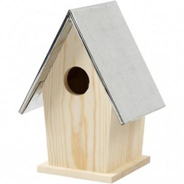 Domek dla ptaków z cynkowym dachem